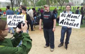 T-shirts and signs at the Reason Rally